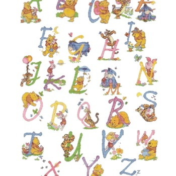 Counted cross stitch pattern alphabet high 70 winnie characters 348*499 stitches CH1841