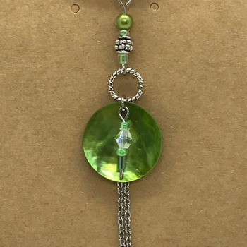 Green Mussel Shell with Beads and Silver Chain