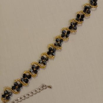 Handmade Austria Crystal Glass Black Beads Golden Bracelet