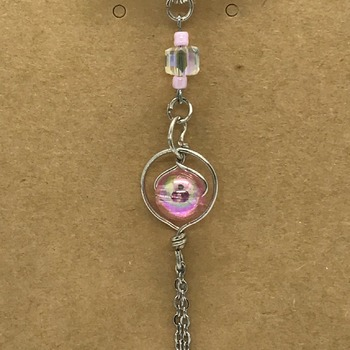 Silver Ring Pendant with Pink Beads