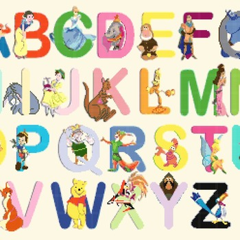 counted cross stitch pattern alphabet disney characters 323 * 233 stitches CH464