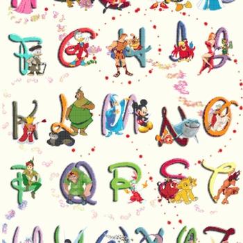 counted cross stitch pattern disney alphabet 328*447 stitches pdf file CH828