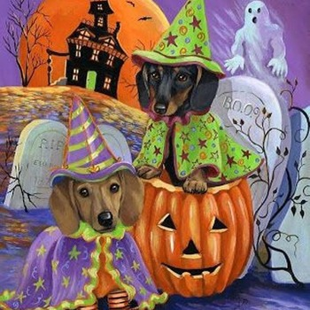CRAFTS Halloween Dachshunds Cross Stitch Pattern***L@@K***