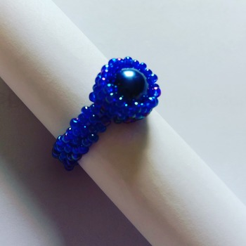 Handmade Royal Blue Pearl Ring Jewellery
