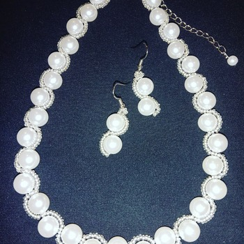Handmade White Pearl Necklace Earrings Set