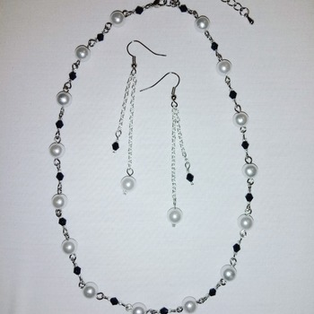 Handmade Black Beads White Pearl Necklace Earrings Set Jewellery