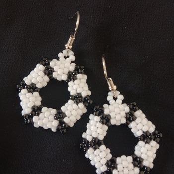 Handmade Black White Open Shape Hexagon Earrings Jewellery