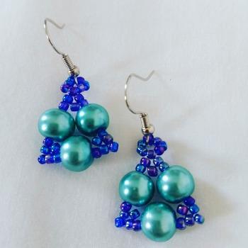 Handmade Blue Pearl Tiny Triangle Earrings
