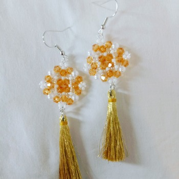 Handmade Champagne Diamond Shape Tessel Earrings Jewellery
