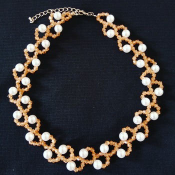 Handmade Champagne White Pearl Necklace Jewellery