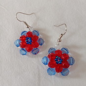 Handmade Red Blue Round Earrings Jewellery