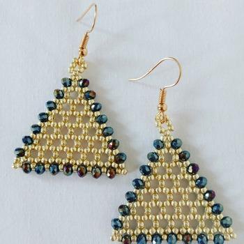 Handmade Gold Beaded Triangle Crystal Glass Earrings Jewellery Accessories