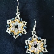 Handmade Gold Silver Starry Crystal Glass Beads Earring