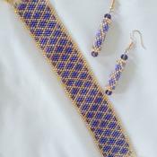 Handmade Golden Purple Diamond Shape Bracelet Earrings Jewellery