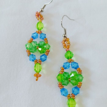 Handmade Green Blue Yellow  Earrings Jewellery