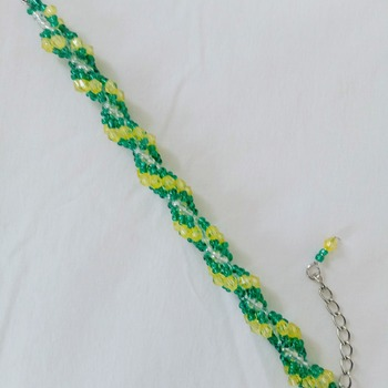 Handmade Green Yellow Spiral Bracelet Jewellery Accessories