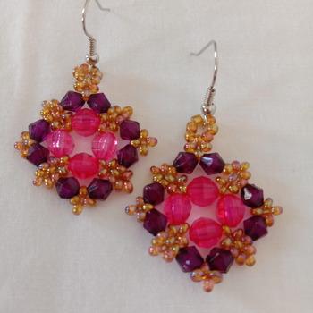 Handmade Purple Pink Diamond Shape Earrings