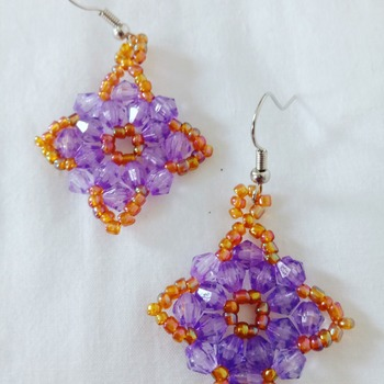Handmade Purple Yellow Diamond Shape Earrings Jewellery