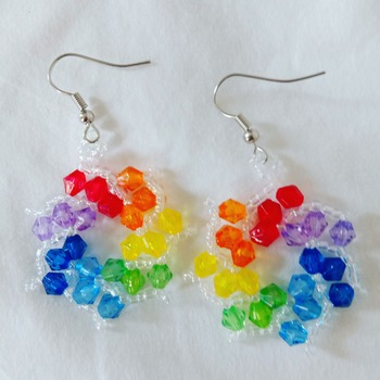 Handmade Rainbow Spiral Earrings Fashion Accessories Jewellery