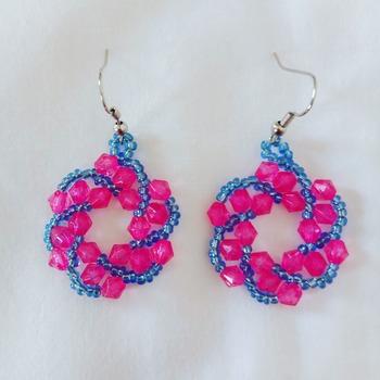 Handmade Red Blue Spiral Earrings