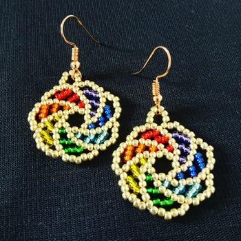 Handmade Round Shape Rainbow Earrings Jewellery