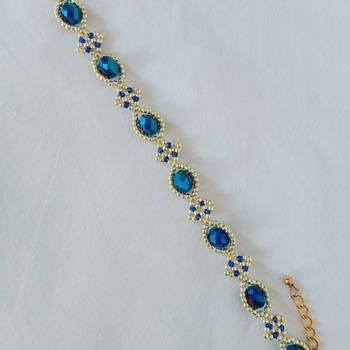 Handmade Royal Blue Crystal Glass Gold Diamond Shape Bracelet Jewellery