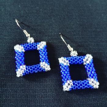 Handmade Royal Blue Silver Open Shape Square Earrings Jewellery