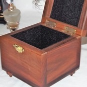 FREE POST - Handmade Square solid wooden Bijoux jewellery Box. Keepsake Box. Trinket Box. Wooden Storage Box with hinged lid & golden clasp