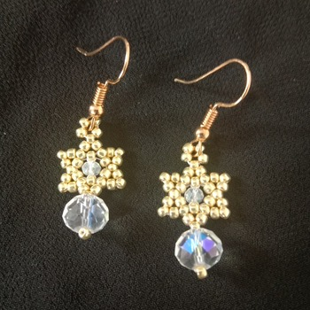 Handmade Tiny Gold Star Crystal Glass Earring Jewellery