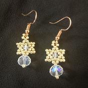 Handmade Tiny Gold Star Crystal Glass Earring Jewellery