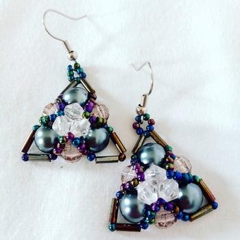 Handmade Triangle Grey Pearl Earrings Jewellery