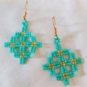 Handmade Turquoise Gold Cross Earrings Jewellery