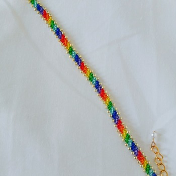 Handmade Twill Stripes Rainbow Bracelet Jewellery