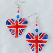 Handmade United Kingdom Heart Earrings Jewellery