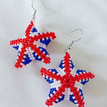 Handmade United Kingdom Star Beaded Earrings Jewellery accessories