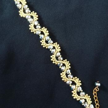 Handmade Wave Silver Crystal Glass Gold Beads Bracelet Jewellery