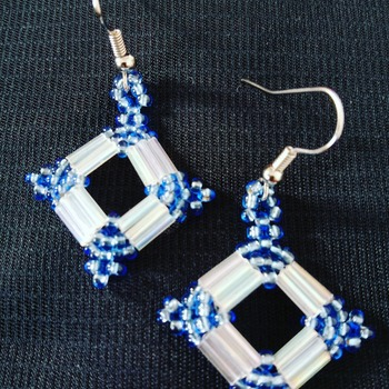 Handmade White Blue Diamond Shape Earrings Jewellery
