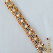 Handmade White Pearl Crystal Glass Gold Beads Bracelet Jewellery Accessories
