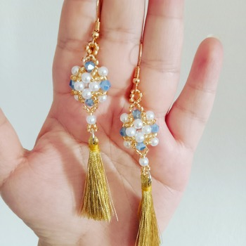 Handmade White Pearl Crystal Glass Square Teasel Earrings
