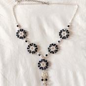 Handmade White Pearl Crystal Glass Round Elegant Necklace Bracelet Earrings Set Jewellery Set