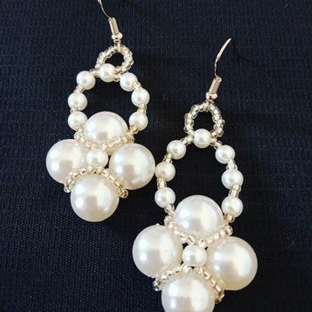 Handmade White Pearl Diamond Shape Earring Jewellery
