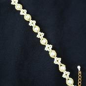 Handmade White Pearl Gold Beads Diamond Shape Bracelet Jewellery