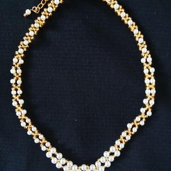Handmade White Pearl Golden V Necklace