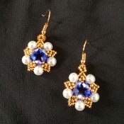 Handmade White Pearl Royal Blue Crystal Glass Star Earrings Jewellery
