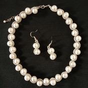 Handmade White Pearl Silver Line Necklace Earrings Set Jewellery Set