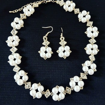 Handmade White Pearl Square & Diamond Necklace Earrings Jewellery Set