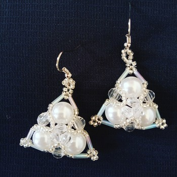 Handmade White Pearl Triangle Earrings