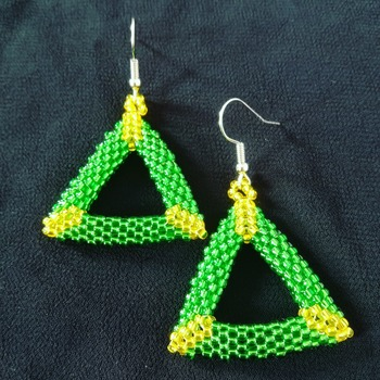 Handmade Yellow Green Open Shape Triangle Earrings Jewellery
