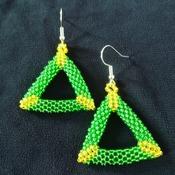 Handmade Yellow Green Open Shape Triangle Earrings Jewellery