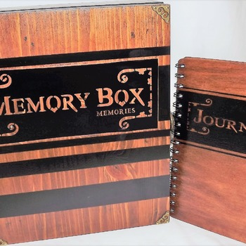 LARGE Rustic - Aged LOCKABLE Wooden MEMORY BOX Storage with matching wooden Journal.